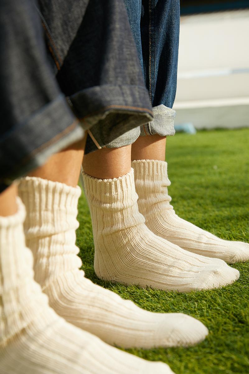 BeeffSocks男女 中国制 天然有机棉加厚粗线针织复古日系中筒长袜