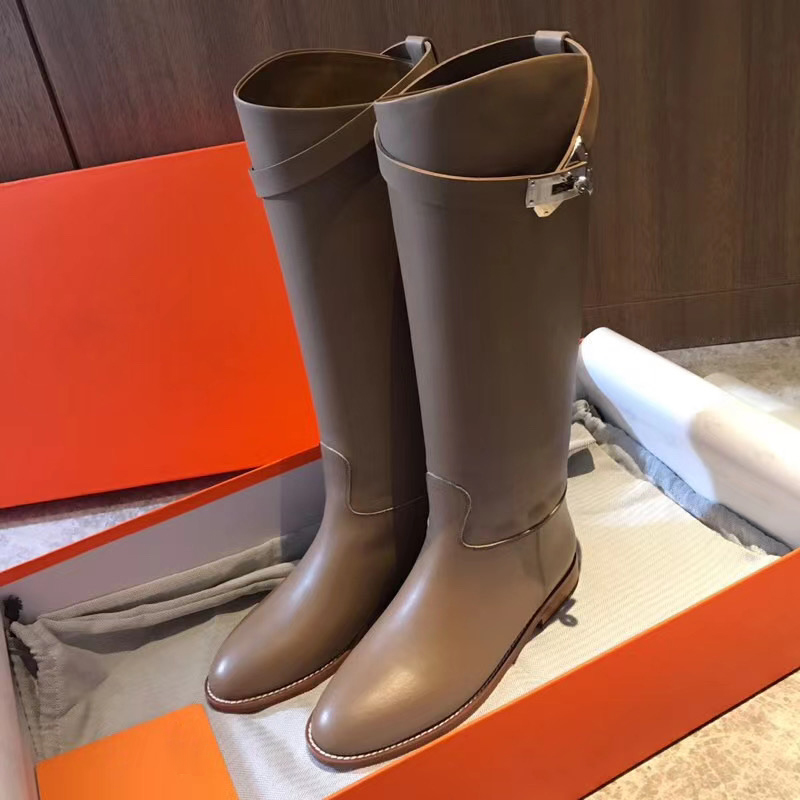 Autumn and winter 2020 new leather womens shoes Kelly boots bobbin boots h high boots flat bottomed straight boots European and American Knight boots