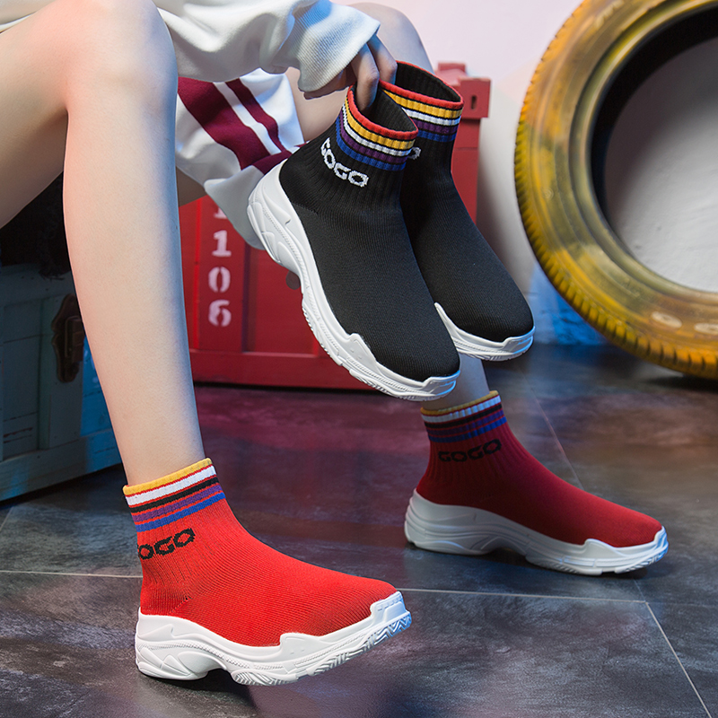 袜子鞋女2019夏季新款厚底运动袜靴高帮休闲弹力飞织百搭针织潮鞋