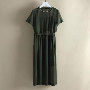 【蜜系列】垂感露腰款长款短袖雪纺连衣裙007品牌商场热销单品