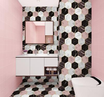 网红卫生间墙贴ins自粘瓷砖贴纸防水改造地贴装饰地面翻新 地板贴