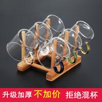 玻璃小茶杯耐熱家用功夫茶具套裝透明單個主人杯子加厚帶把6只裝