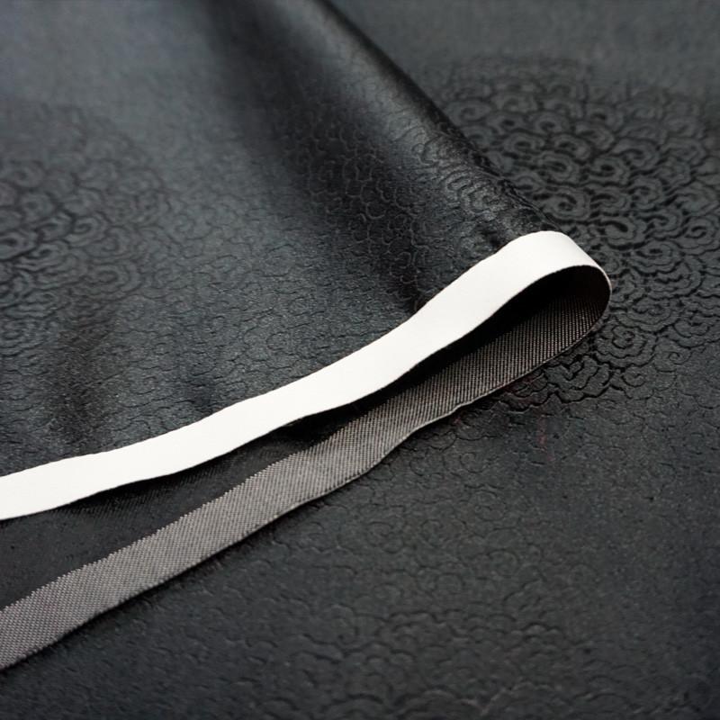 促销推荐 优质黑色满地祥云团云纹织锦缎丝绸缎子布料面料唐装汉