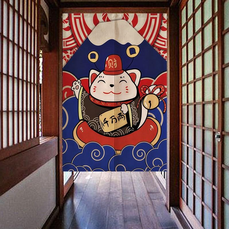 日式招财猫卧室布艺厨房装饰门帘37.50元包邮