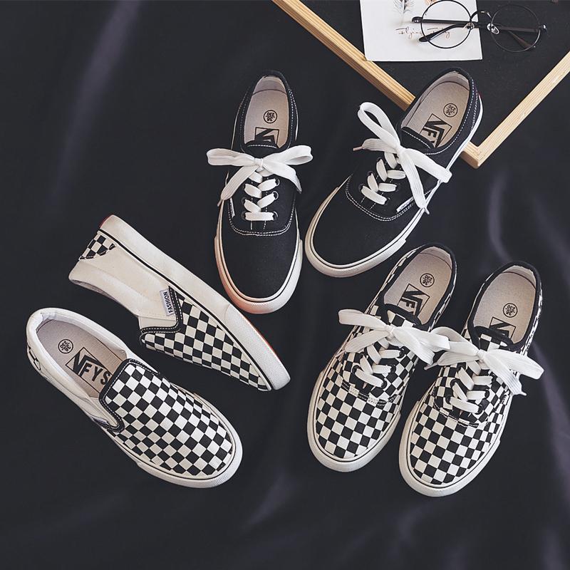 帆布鞋女学生2019新款春季韩版百搭ulzzang2020黑白格子布鞋板鞋