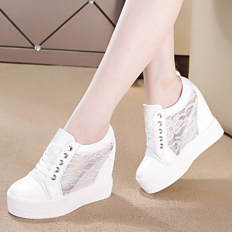 Womens shoes with height within 10cm spring new style wedge heel strife for super high heel 12cm thick sole shoes small white shoes