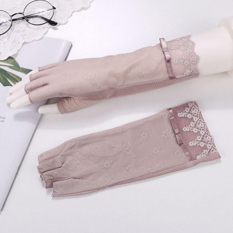 干活薄婚礼夏季春秋韩式春夏手套 蕾丝冰丝半指新娘吸汗露指新品