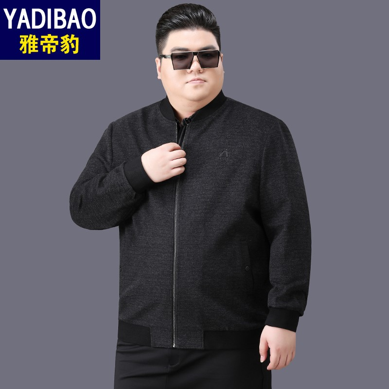 Premium brand oversized jacket mens plus fat plus large casual middle-aged medium thick fat baseball collar spring and Autumn