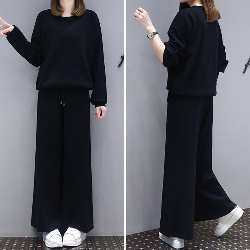 11时尚女装洋气套装女春新款百搭遮肚子显瘦阔腿裤休闲气质两件套