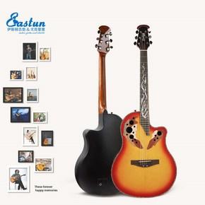 Гитары электроакустические,  Новая рука начиная начинающий желтый домой жеребенок желтый проникать в 41 дюймовый сингл доска баллада гитара виноград отверстие черепаха задний электрическая коробка дерево счастливый это, цена 17150 руб