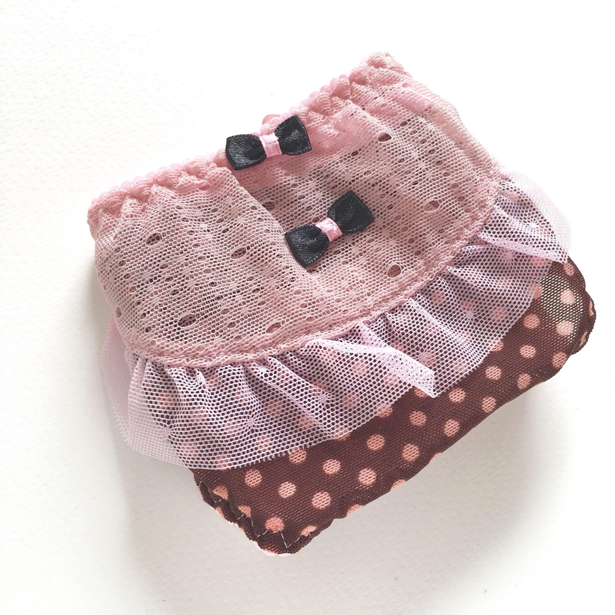 手感柔软弹力透气网女内裤咖啡粉色波点荷叶边纯棉裆日系蝴蝶结