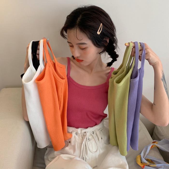 吊带背心女韩版2021新款修身chic打底针织衫纯色夏季外穿上衣