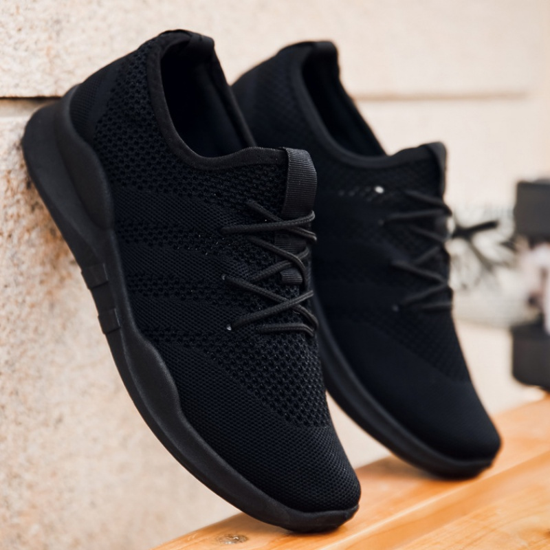 全黑色工作鞋子男士网面男鞋透气轻便网鞋夏季网眼运动休闲鞋大码
