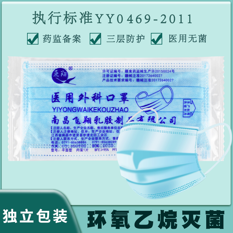 Medical surgical masks are individually packaged and sterilized. Protective disposable medical masks for individual medical masks