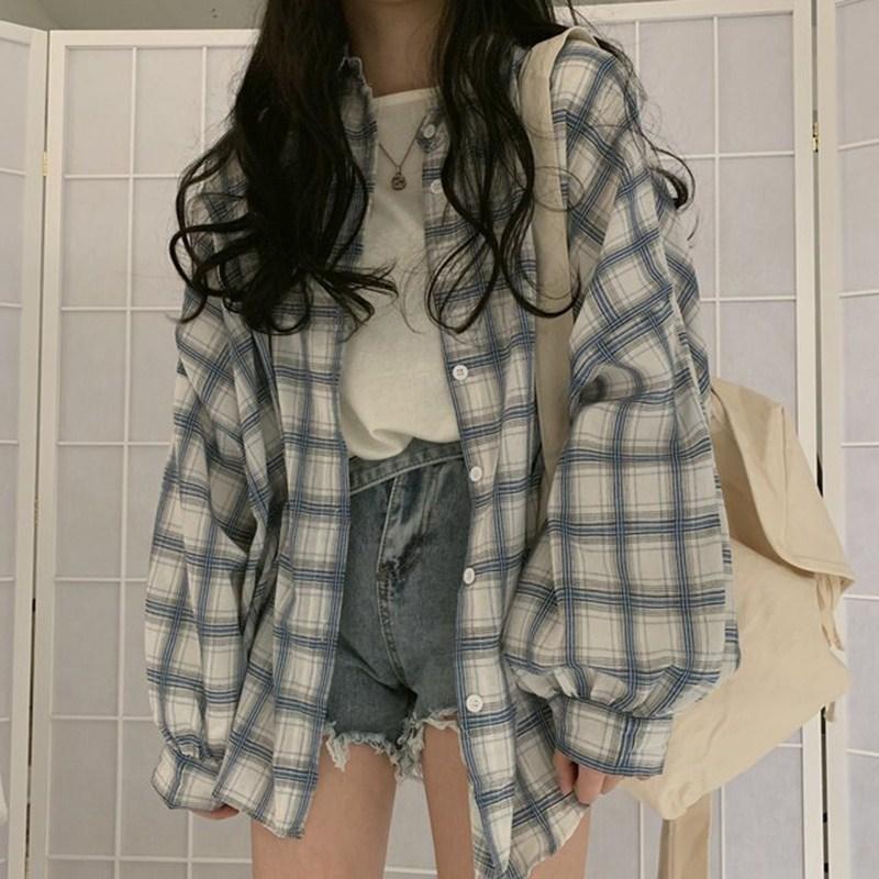 夏季韩版复古格子百搭宽松长袖衬衫设计感小众衬衣女装港味上衣潮