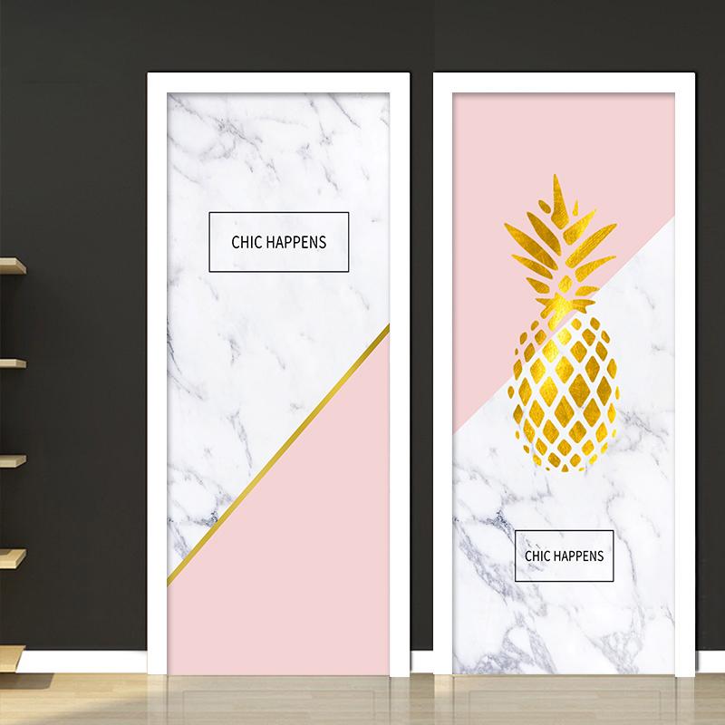大理石门贴纸自粘装饰个性创意北欧卫生间卧室整张房木门翻新全包