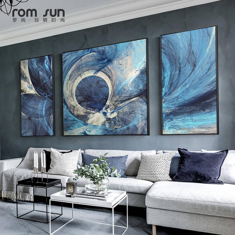 抽象客厅三联画轻奢北欧风暖色墙画现代简约沙发背景墙装饰画满801.00元可用1元优惠券