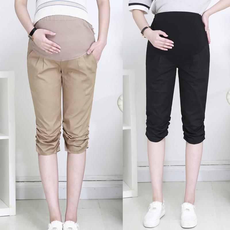 加大码修身显瘦孕妇七分裤孕妇装夏季新款托腹裤子200斤外穿短裤