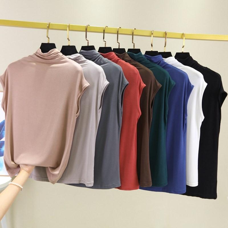 。夏季舒适堆堆领短袖T恤女高领无袖百搭薄款内搭打底衫大码上