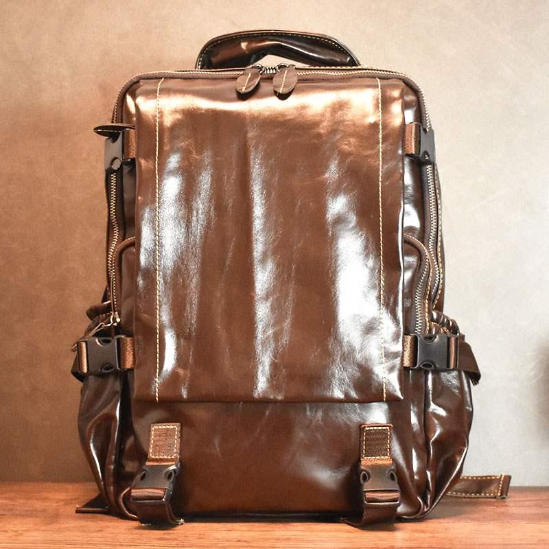 手工休闲真皮双肩包男软皮潮书包笔记本电脑包复古港风背包旅行包