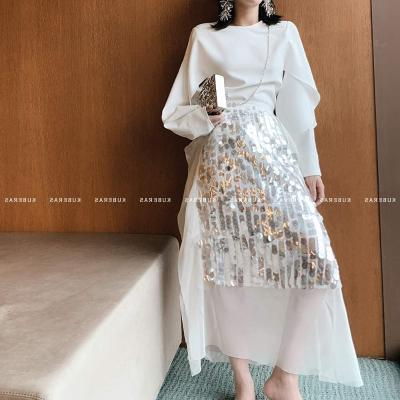 Customized new year fashionable gorgeous Sequin French retro skirt fairy skirt