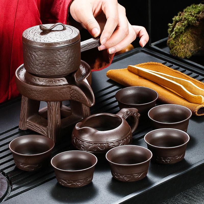 不包邮紫砂全半自动旋转茶具整套陶瓷懒人式防烫功夫家用泡茶器套装
