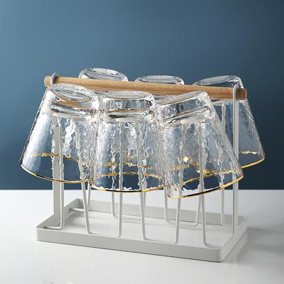 金边锤目纹杯子啤酒杯果汁杯玻璃杯家用套装客厅北欧水具套装杯架