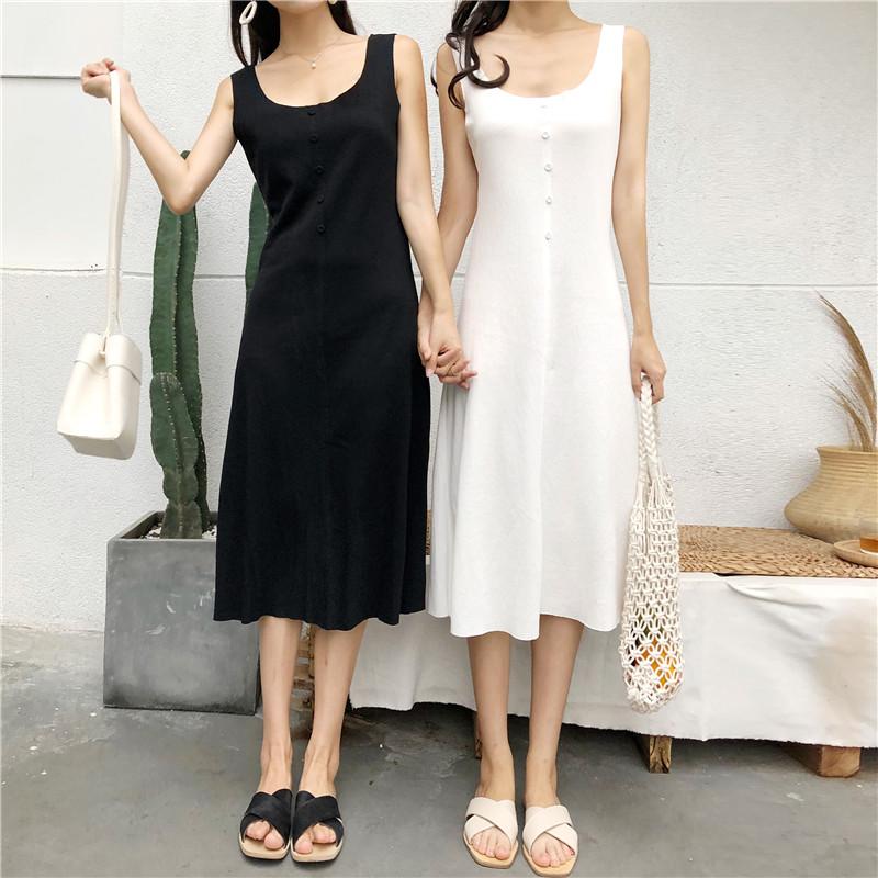 实拍 实价 视频 夏季新款舒适棉料长款背心钉扣性感连衣裙女