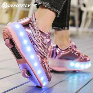 儿童暴走鞋四轮隐形学生童鞋女童爆走鞋双轮变形男孩溜冰滑轮鞋女