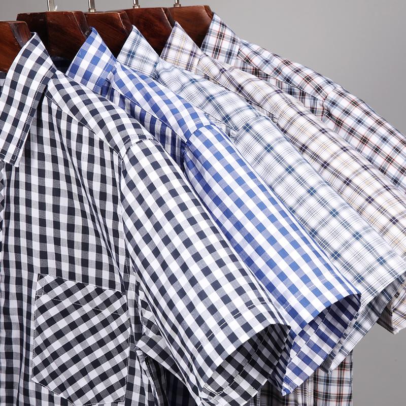 夏季男士纯棉格子衬衫短袖中年爸爸装薄款全棉老人爷爷衬衣父亲节