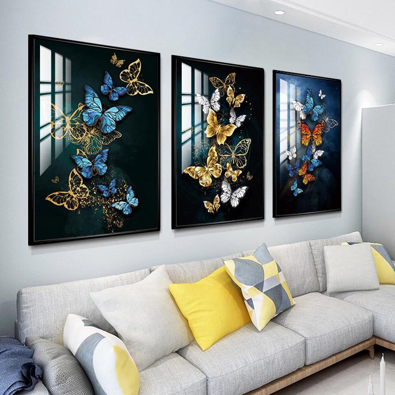 客厅装饰画现代简约三联画晶瓷画北欧沙发后墙壁画风景背景墙挂画