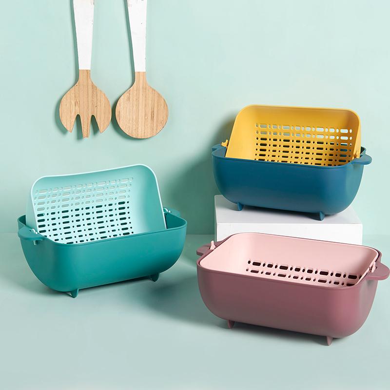家用双层沥水篮厨房大号洗收纳篮子