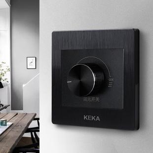 可卡黑色拉丝可调光LED白炽灯无极旋钮可控硅手动调光器调光开关