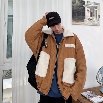 主推港风羊羔毛外套宽松男士棉衣休闲夹克19冬新款B205-M116-P120