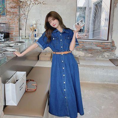 牛仔连衣裙女夏季薄款2021新款法式复古收腰显瘦气质长款衬衫裙子