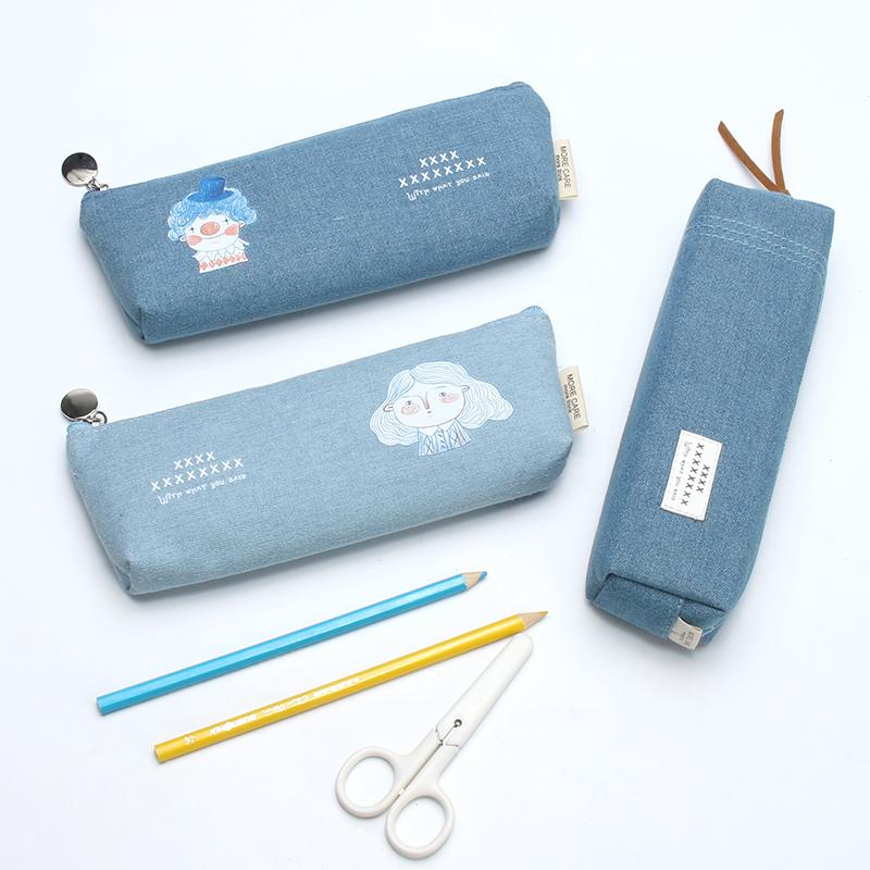 牛仔帆布笔袋韩国简约女生初中生文具盒创意小清新小学生铅笔袋男
