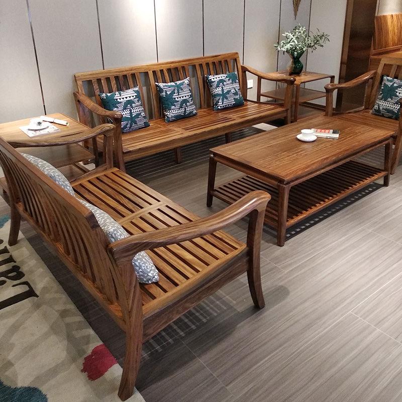 北欧乌金木冬夏两用沙发实木木布结合客厅新款新中式轻奢家具W59