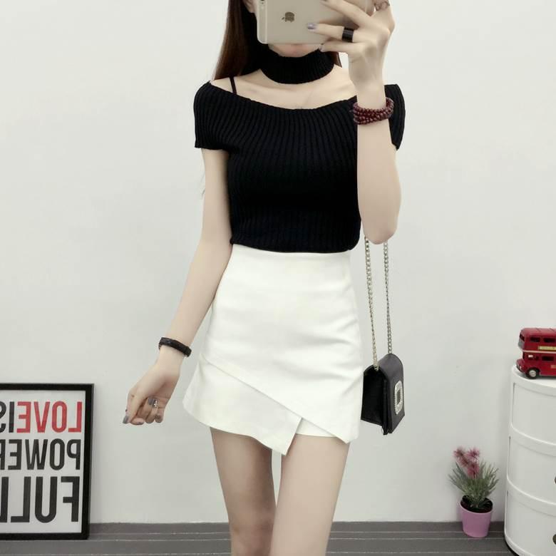 Short womens summer bag hip skirt pants 30-34 years old womens fashionable skirt thin cotton pure womens safety pants womens 2018 short skirt