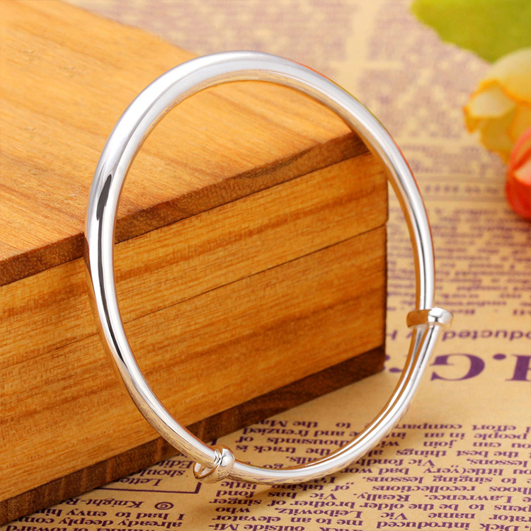 Beishang Guangtong s999 Sterling Silver Sterling Silver Mens bracelet smooth push pull fashion simple womens Silver Bracelet Silver Jewelry