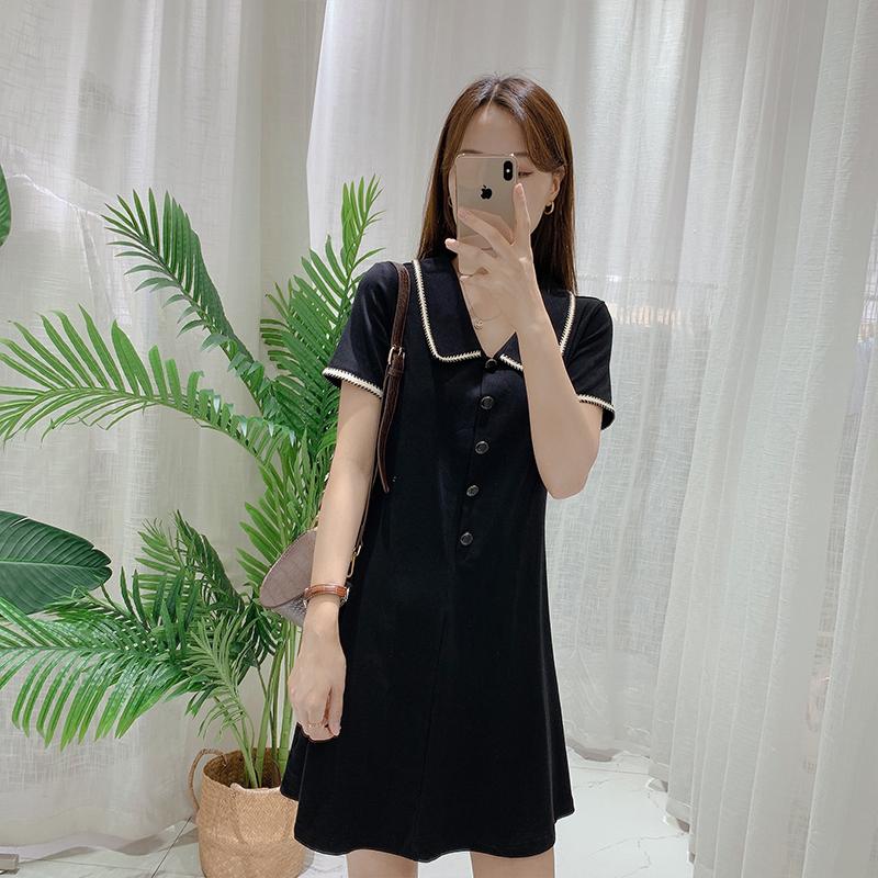 0504/陈儒兵服饰店 气质显瘦娃娃领连衣裙收腰显瘦短袖裙子女夏季