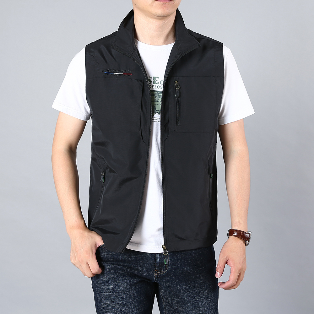 Multi Pocket Vest mens outdoor quick drying spring and autumn sleeveless jacket collar loose large fishing photography military vest