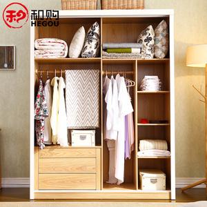 和购北欧两门衣柜时尚简约趟门大衣橱小户型简易原木整体衣柜101