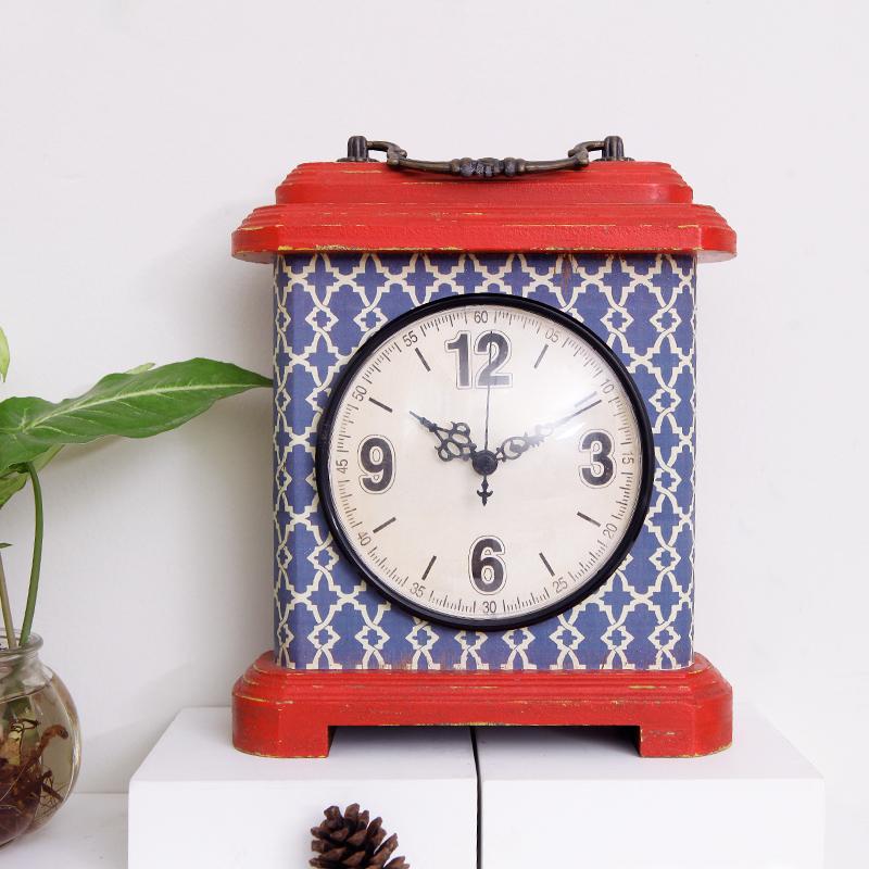 你可居 复古台钟座钟创意美式时钟客厅卧室桌钟装饰合金手提摆钟 Изображение 1