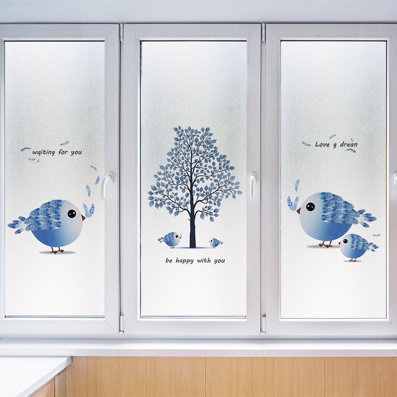 静电磨砂卫生间推拉门透光家用卧室窗户玻璃贴纸卡通装饰小图案
