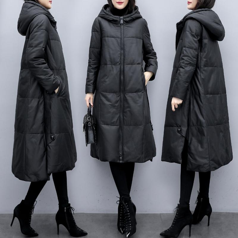 2019冬新款大码韩版时尚中长款连帽宽松过膝皮衣外套黑色羽绒服女