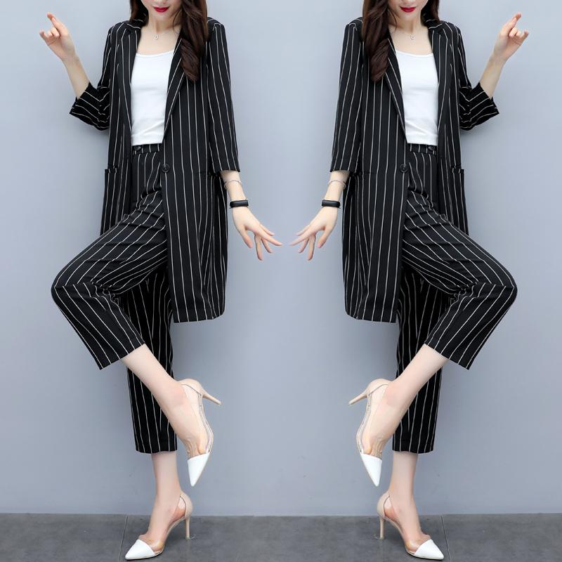 2019夏装新款韩版显瘦大码条纹西装外套裤两件套时尚九分裤套装女(非品牌)
