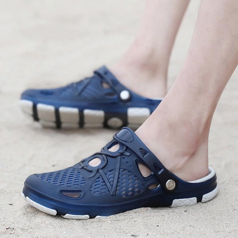 包头凉鞋男士洞洞鞋男夏季游泳涉水防滑沙滩鞋海边大头拖鞋果冻鞋