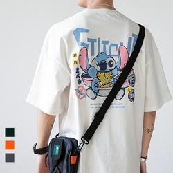 男士短袖t恤新款史迪仔印花宽松衣服夏季韩版潮流纯棉白半袖体恤