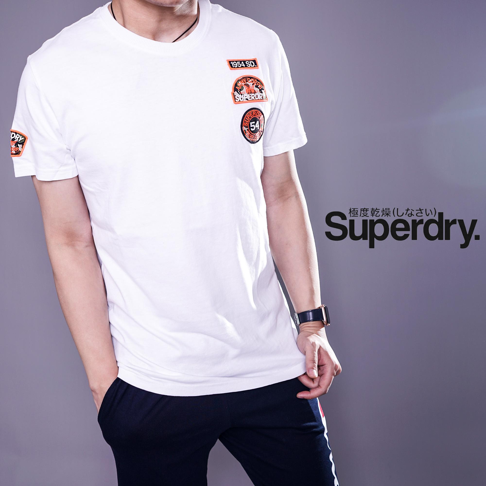 英国Superdry极度干燥新款男潮牌全棉刺绣标修身圆领短袖t恤现货