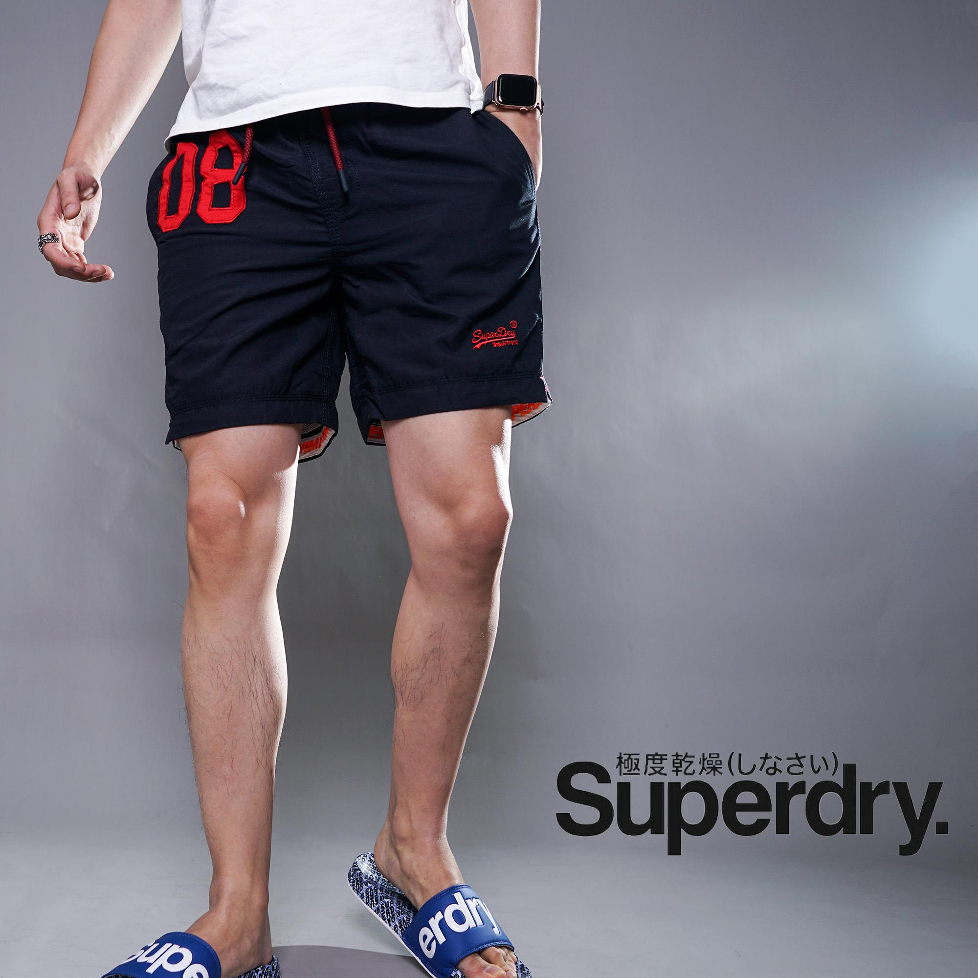 英国Superdry极度干燥新款男休闲抽绳内网眼游泳沙滩裤短裤现货